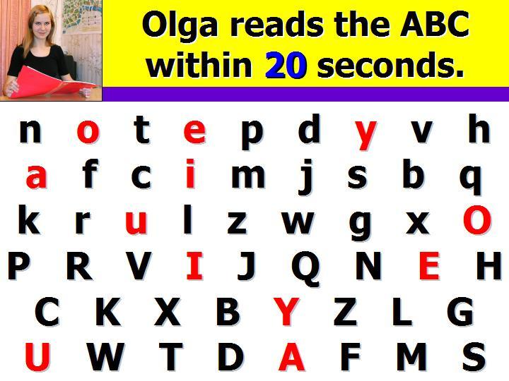 Беглое чтение английского алфавита за 30 секунд