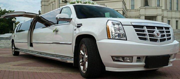A huge white Limousine.