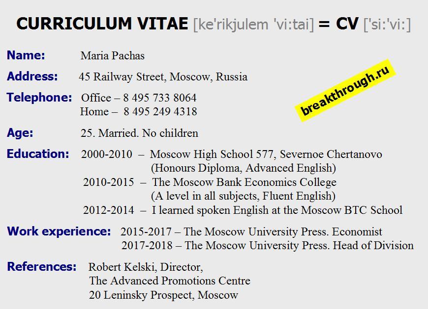 Как писать написать составить резюме resume CV Curriculum Vitae
