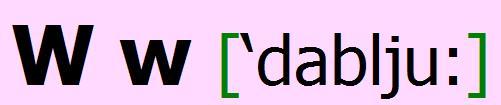 English alphabet W w