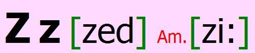 English alphabet Z z