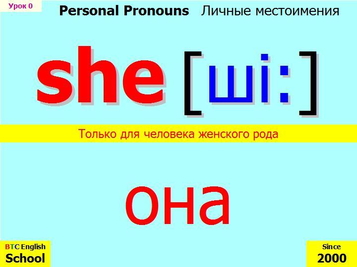 Изучение английских личных местоимений