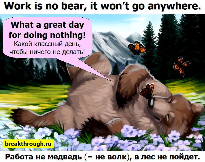 Работа не волк медведь в лес не убежит уйдет
