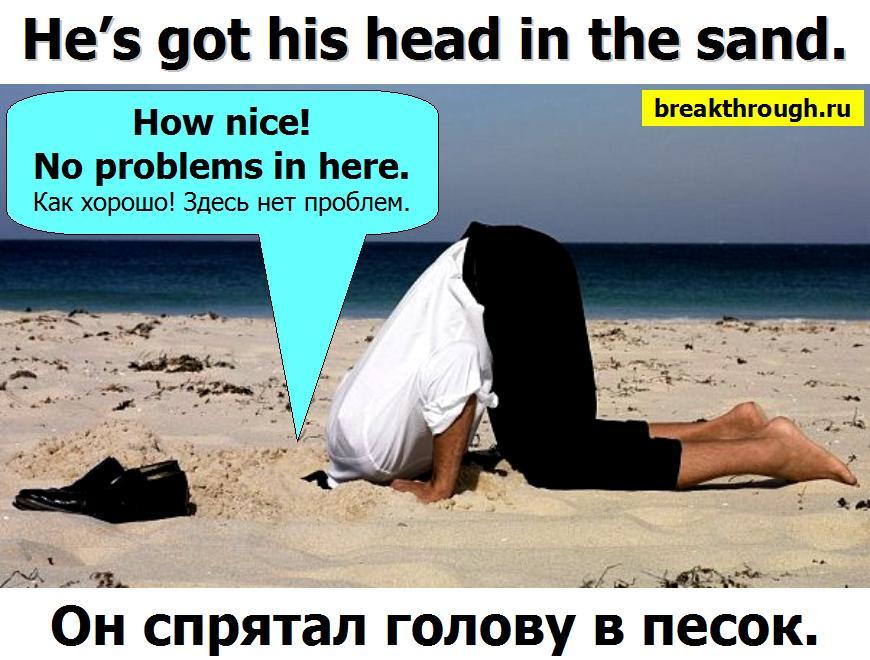 прятать зарывать закапывать голову в песок