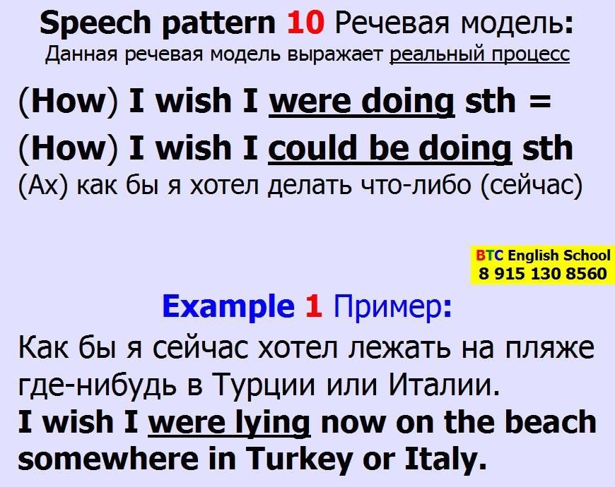Речевая модель 10 How I wish I could be were doing sth something Александра Газинского Школа BTC English