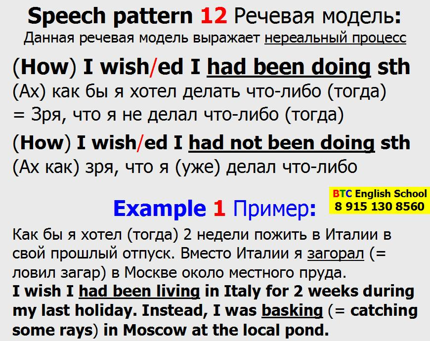Речевая модель 12 How I wish wished I had not been doing sth something then already Александра Газинского Школа BTC English