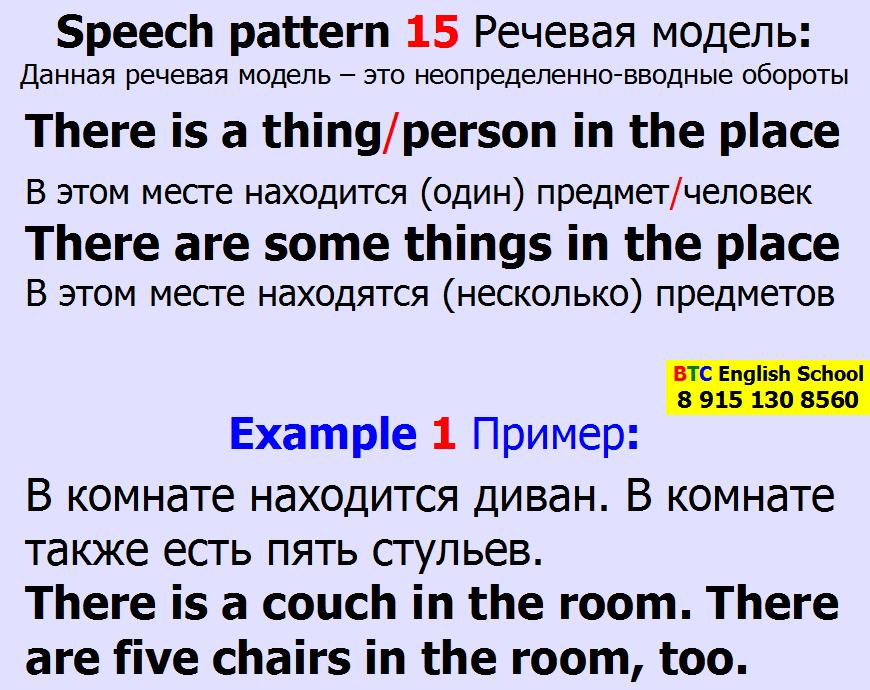 Речевая модель 15 There is are not a some any thing things person persons in the place Александра Газинского Школа BTC English