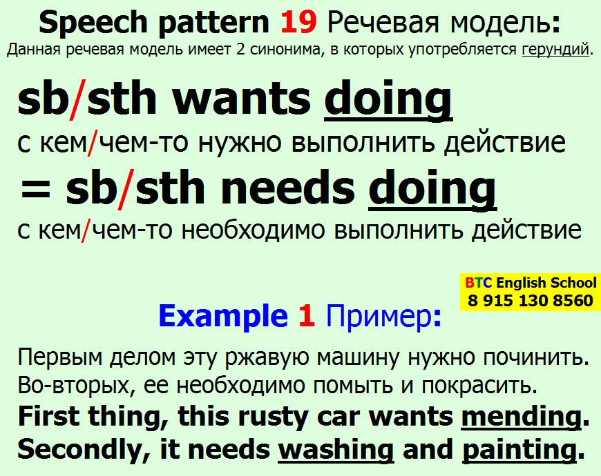 Речевая модель 19 somebody something wants needs doing sth Александра Газинского Школа BTC English