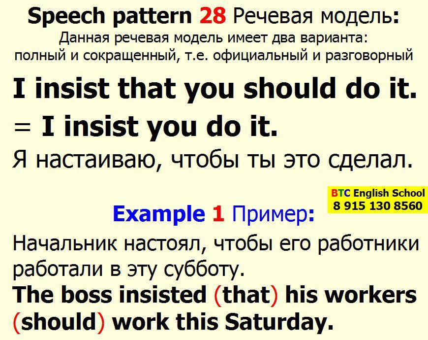 Речевая модель 28 I insist demand suggest that you should do it sth something Александра Газинского Школа BTC English