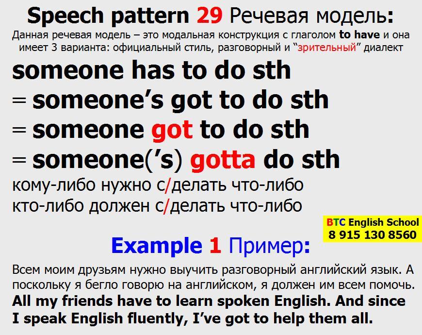 Речевая модель 29 sb somebody someone has someone's got to do sth something Александра Газинского Школа BTC English