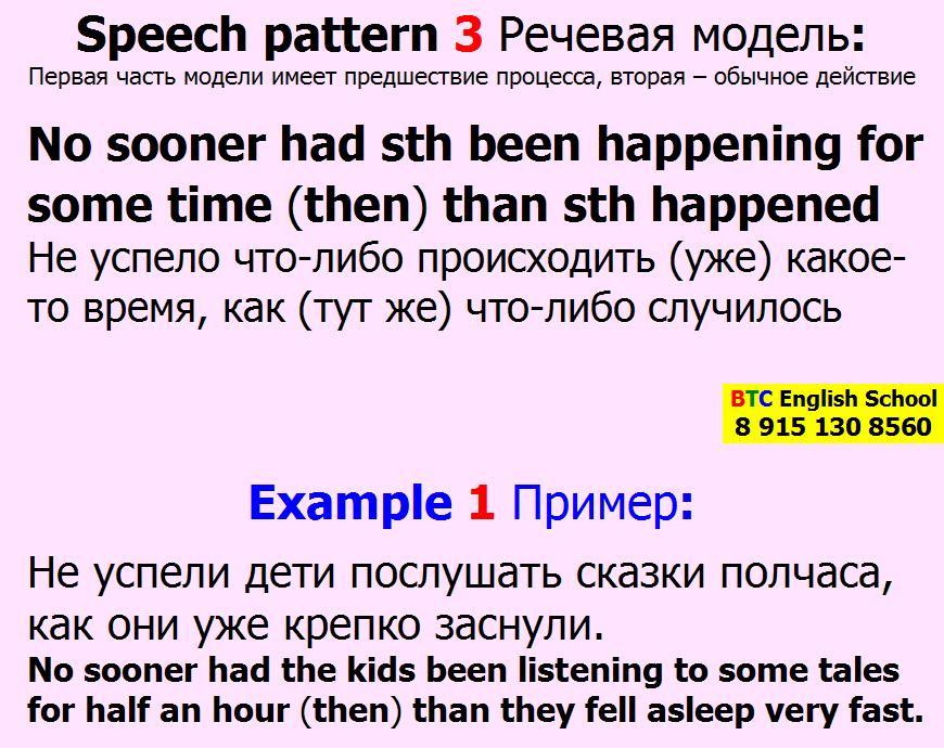 Речевая модель 3 Barely ever had sth been happening for some time then than sth something happened Александра Газинского Школа BTC English