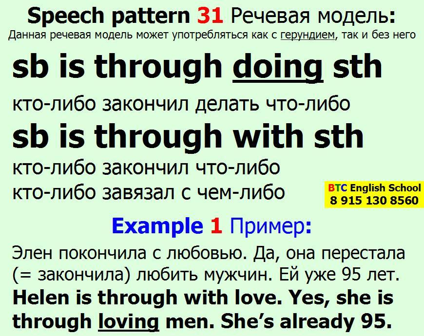 Речевая модель 31 sb somebody someone is to be through doing with sth something Александра Газинского Школа BTC English