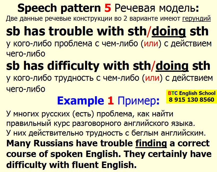 Речевая модель 5 sb has to have trouble difficulty doing sth something Александра Газинского Школа BTC English