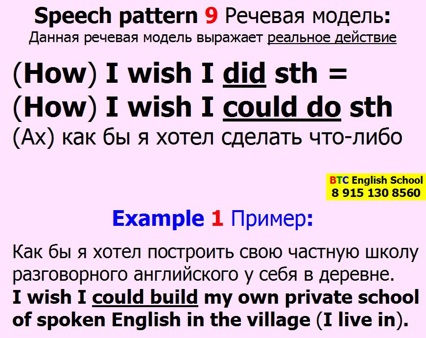 Речевая модель 9 How I wish I did could do sth something Александра Газинского Школа BTC English